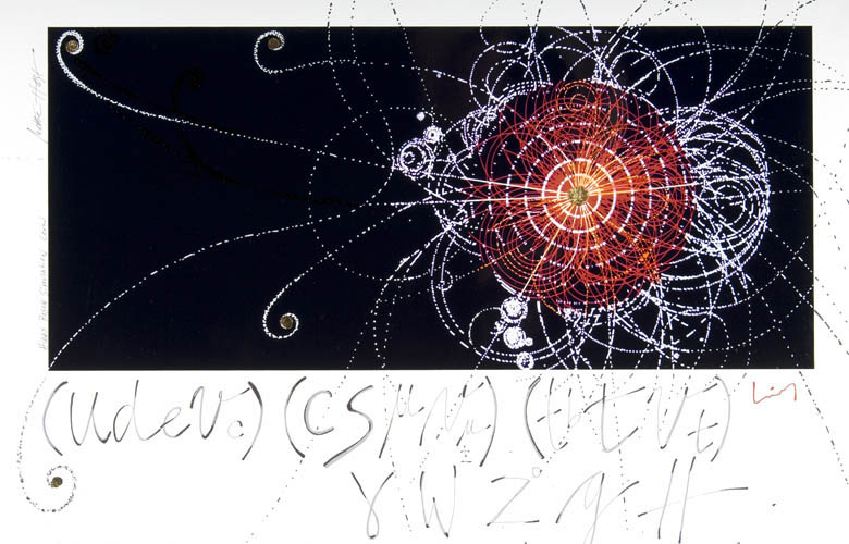 Artist rendition of Higgs bosons generated after a particle collision. Created for Niels Bohr institute by artist-in-residence Mette Høst