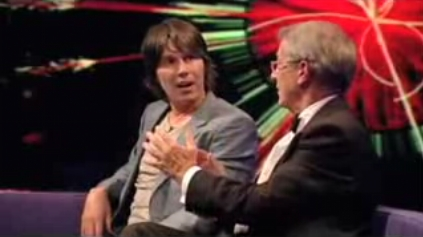 Did he REALLY just say that? Brian Cox's expression says it all... (still from the BBC's Newsnight program)