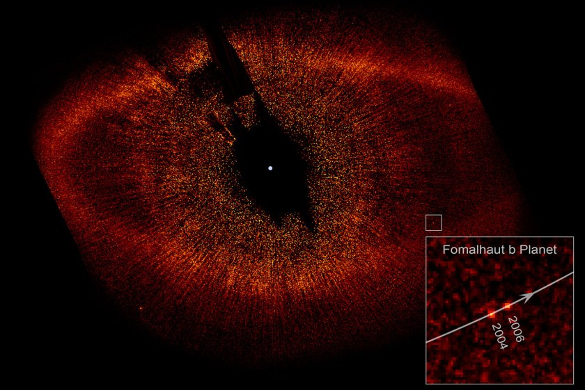 Estimated to be no more than three times Jupiter's mass, the planet, called Fomalhaut b, orbits the bright southern star Fomalhaut, located 25 light-years away in the constellation Piscis Austrinus (NASA/ESA)