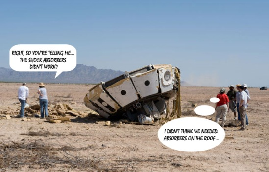 During an earlier test, the Orion parachutes failed to open as planned, face-planting the capsule into the desert (NASA)