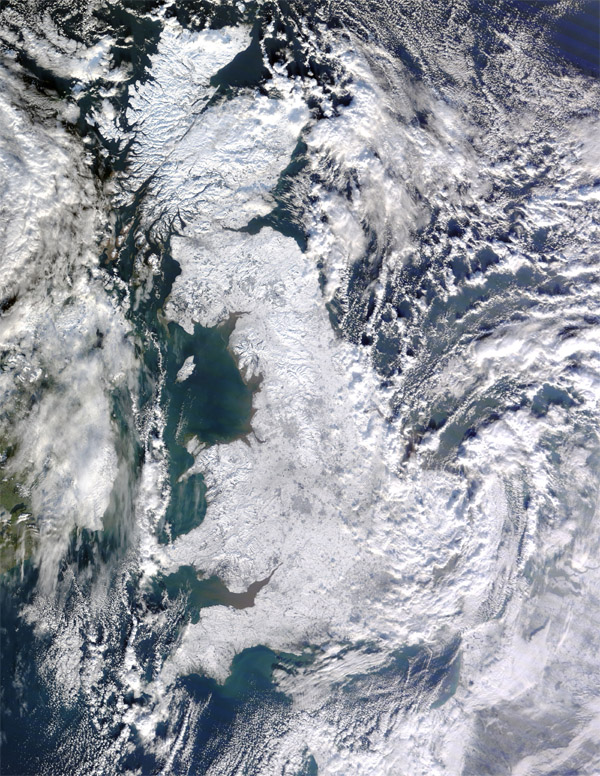 A Terra Satellite view of the UK snow (NASA)