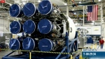 "The ""business end"" of the Falcon 9 -- nine Merlin engines (SpaceX)"