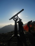A telescope silhouette during the Venus transit.