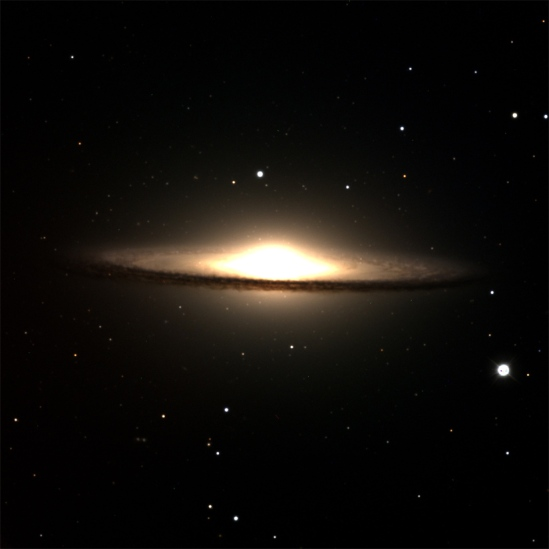 "M104, ""The Sombrero Galaxy"" as seen through the DCT. Credit: Lowell Observatory/DCT"