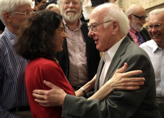 Real superstars: Peter Higgs congratulates ATLAS experiment spokesperson Fabiola Gianotti after she announced her collaboration's discovery of a Higgs-like particle (CERN/ATLAS/Getty)
