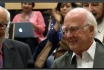 Prof. Peter Higgs, theoretical theorist, receives applause at the CERN event.