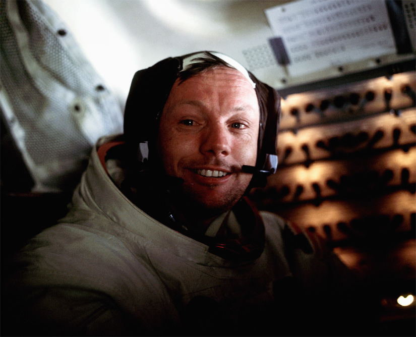 "Apollo 11 Commander Neil Armstrong inside the lunar module ""Eagle"" after his first moonwalk. Credit: NASA"