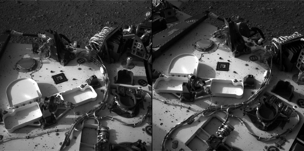 The view through Curiosity's left (A) and right (A) Navcams, looking down on the deck of the rover. Credit: NASA/JPL-Caltech