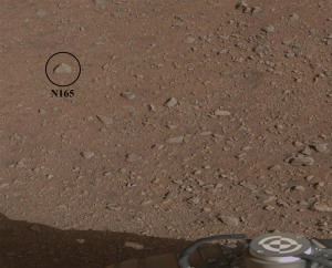 "The fist-sized Mars rock -- called ""Coronation"", previously designated ""N165"" -- has become the first casualty scientific target of Curiosity's ChemCam intrument. Credit: NASA/JPL-Caltech"