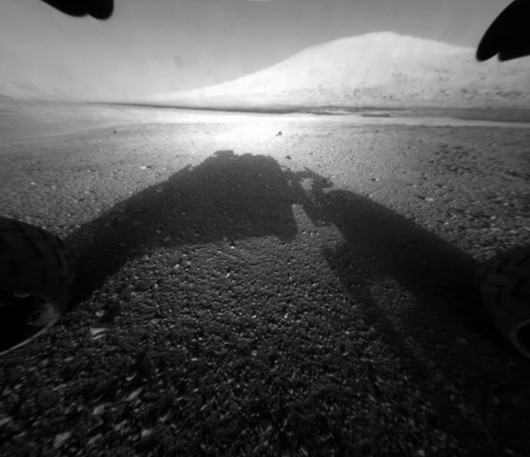 """This is the view from the front Hazcam of the Mars Science Laboratory """"Curiosity."""" Mount Sharp is in shot. Credit: NASA/JPL-Caltech"""