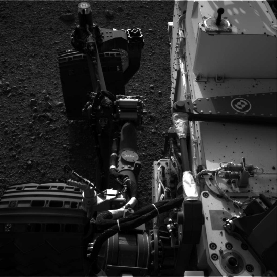 Curiosity's wheels as imaged by Navcam Left A. Credit: NASA/JPL-Caltech