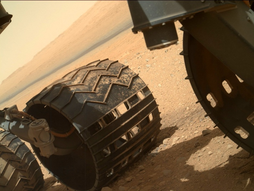 On Sol 34, Curiosity's Mars Hand Lens Imager (MAHLI) captured images of the rover's dusty wheels. Credit: NASA/JPL-Caltech