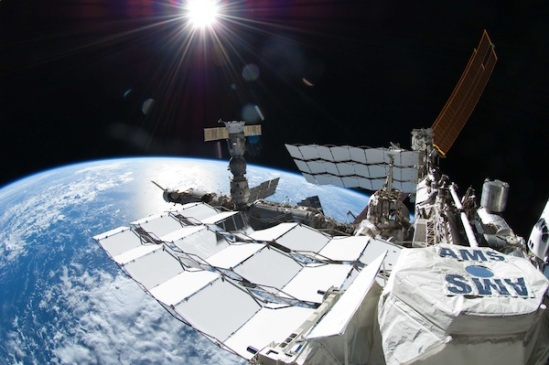 The AMS attached to the space station's exterior (NASA)