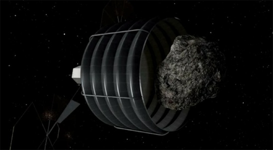 "Screengrab from the NASA ""Asteroid Retrieval and Utilization Mission"" animation (NASA LaRC/JSC)"