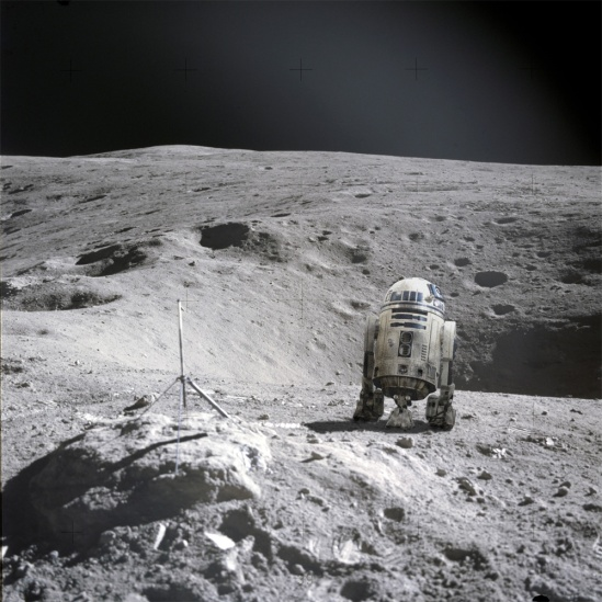 """R2, where are you?"" On the moon... Credit: NASA/Corbis/Ian O'Neill/Discovery News"