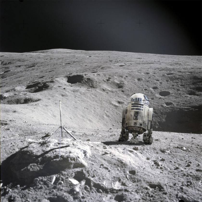 """R2, where are you?"" On the moon... Credit: NASA/Corbis/Ian O'Neill/Discovery News"