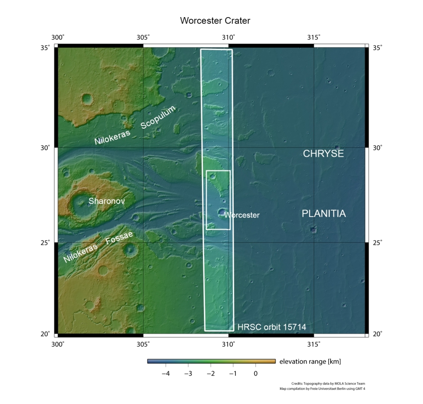 This context image shows a region of Mars where Kasei Vallis empties into the vast Chryse Planitia (NASA MGS MOLA Science Team)